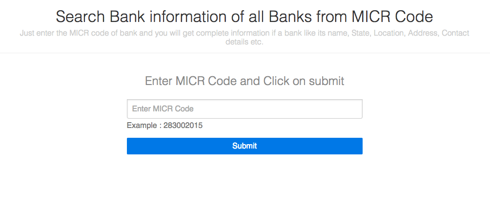 IFSC from MICR code
